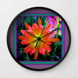 Yellow-Orange Tropical Jungle Flower Teal- Puce  Art  Wall Clock