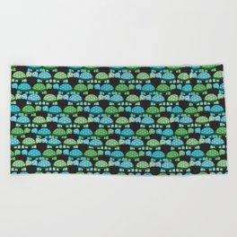Turtle Pattern (Black/Blue/Green) Beach Towel