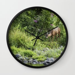 Young Doe Among the Flora, No. 2 Wall Clock