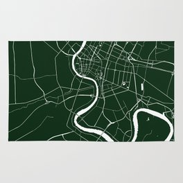 Bangkok Thailand Minimal Street Map - Forest Green and White Rug