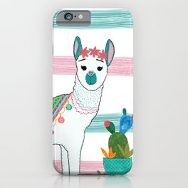Llama Loves Cactus by Elizabeth Claire iPhone Case