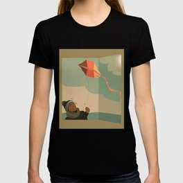 The boy with the kite. Dreams come true here, there and over there T-shirt