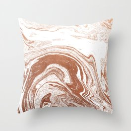 Marble copper metallic suminagashi spilled ink japanese marbling abstract ocean swirl Throw Pillow