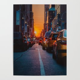 New York City Taxi Sunset (Color) Poster