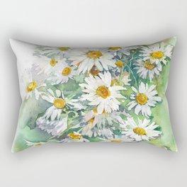 Watercolor chamomile white flowers Rectangular Pillow