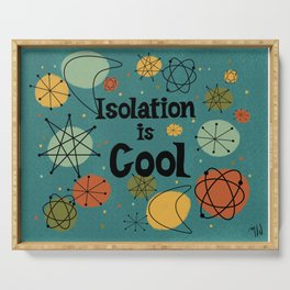Isolation is Cool Mid-century Modern, Blue Cosmic Design Serving Tray