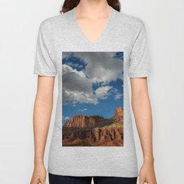 Blue Sky & Sandstone Cliffs - Capitol Reef National Park, Utah Unisex V-Neck
