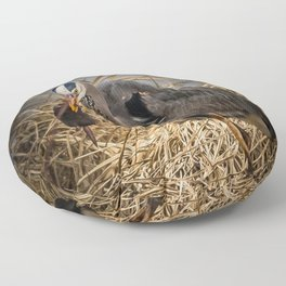 Heron and the mole Floor Pillow