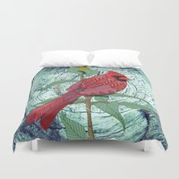 virginia Duvet Covers featuring Virginia Cardinal by ArtLovePassion
