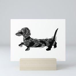 Linocut Dachshund Mini Art Print