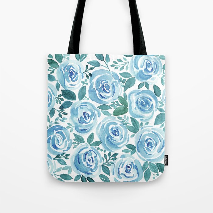 Pale blue roses . Watercolor . Tote Bag