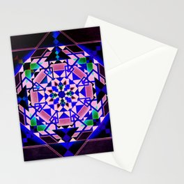 Purple, blue shapes and paterns Stationery Cards