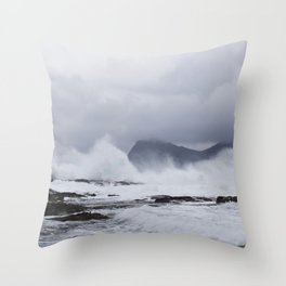 Waves in the Faroe Islands Throw Pillow