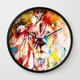 Wild Lion Sketch Abstract Watercolor Splatters Wall Clock