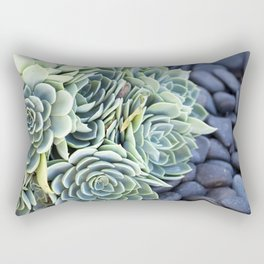 Succulent in Sea Foam Blue Rectangular Pillow