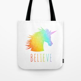 Believe  |  Rainbow Glitter Unicorn Tote Bag