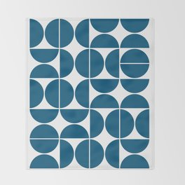 Mid Century Modern Geometric 04 Blue Throw Blanket