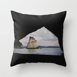 sunrise at cathedral cove Throw Pillow