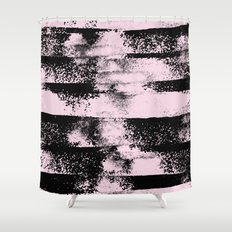 Pink Black Abstract texture  Shower Curtain