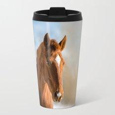 Brown Horse Winter Sky Travel Mug