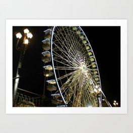 Ferris Wheel at Night in Nice, France Art Print