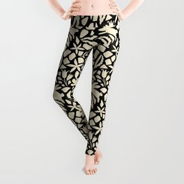 Folk Art Bunnies - black and cream Leggings