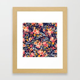 Navy Floral Framed Art Print