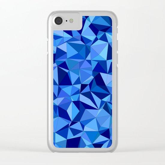 Blue tile mosaic Clear iPhone Case