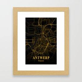 Antwerp Belgium City Map   Belgian City Street Map   European Cities Maps Framed Art Print
