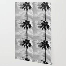 Palm Trees In Black And White Wallpaper