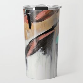 Head in the Clouds: colorful abstract piece in pink, teal, gold, black and white Travel Mug