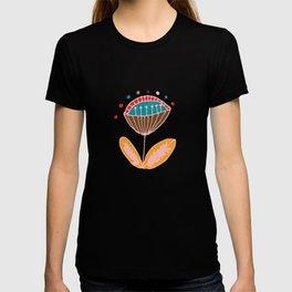Mid Century Beige Floral Pattern T-shirt