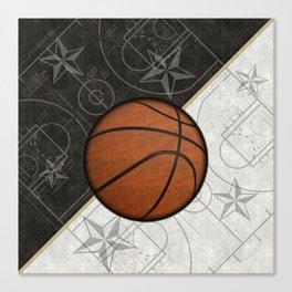 Basketball Stars and Court Team Sports Design Canvas Print