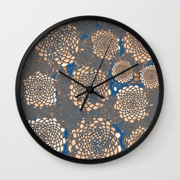 Orange Marigolds on blue Wall Clock