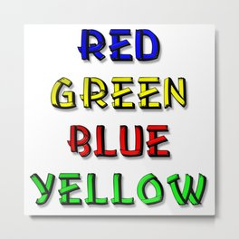 Red Green Blue Yellow Brain Teaser Metal Print