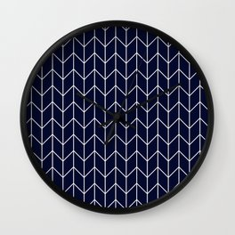 Chevron pattern -  white on darkblue Wall Clock