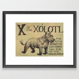 Alphabestiary X - Xolotl Framed Art Print