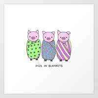 blankets Art Prints featuring Pigs in Blankets by Charlotte Lucy