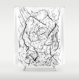 One hand in two pockets. Shower Curtain