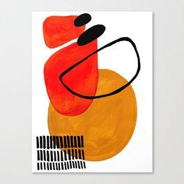 Mid Century Modern Abstract Vintage Pop Art E Age Pattern Orange Yellow Black Orbit Accent Canvas
