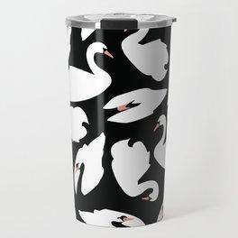 White Swans on Black seamless pattern Travel Mug