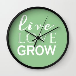 Live Love Grow - Mint Green and White Wall Clock