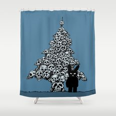The Black Bunny of Doom and his Skull Christmas tree Shower Curtain