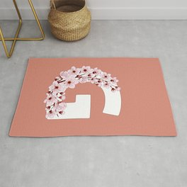 Colorful capital letter G patterned with sakura twig Rug