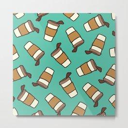 Take it Away Coffee Pattern Metal Print