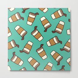 Take it Away Coffee Pattern Metal Print