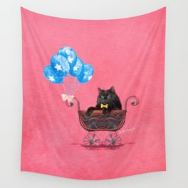 Cat in a Pram Wall Tapestry