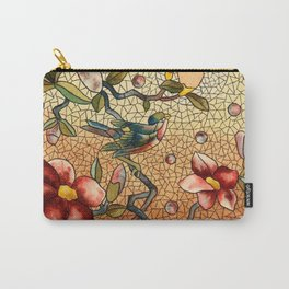 Birdy Among The Flowers Mosaic Carry-All Pouch
