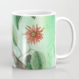 Bohemian Waxwing with Carolina Allspice, Antique Natural History Collage Coffee Mug