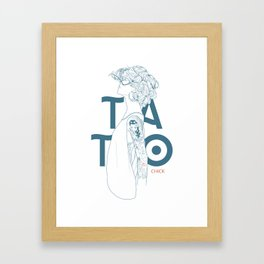 TATTOO CHICK WHITE Framed Art Print